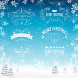 Fototapety Vector Illustration of Decorative Christmas Labels
