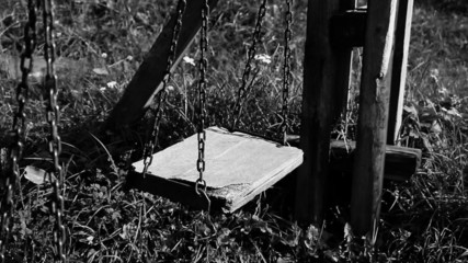 broken swing, concept of abandoned child