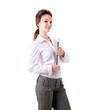 Businesswoman with a laptop in her hands full length isolated on