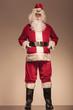 Santa Claus holding his black belt