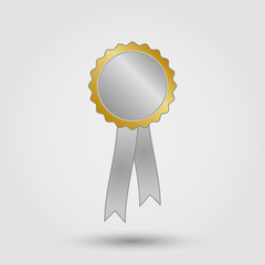 silver gold blank award rosette with ribbon