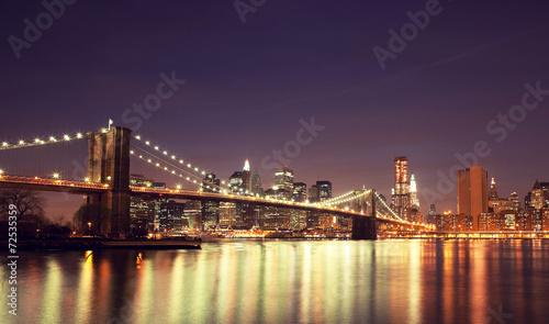 Zdjęcia na płótnie, fototapety, obrazy : Colorful night skyline of downtown New York, New York, USA.