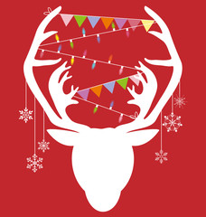 Reindeer white hang christmas accessories on red background