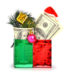 Handred dollars gift in pacage with christmas hat, bauble and pi