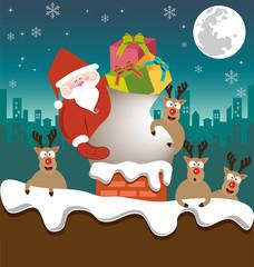 Santa claus and Reindeer send gifts on chimney