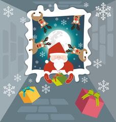 Santa claus and Reindeer send gifts on christmas night 1