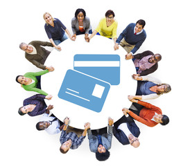 People Holding Hands with ID Card Symbol