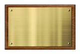 Wood plaque with brass or gold metal plate. Clipping path