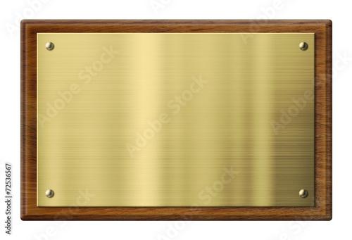 Leinwandbild Motiv Wood plaque with brass or gold metal plate. Clipping path