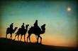 Leinwanddruck Bild - Three Kings Desert Star of Bethlehem Nativity