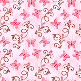 Seamless background with pink butterflies