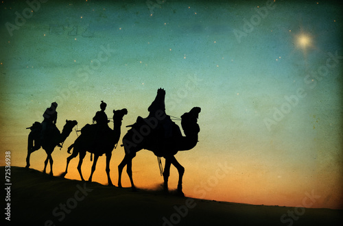 Plagát, Obraz Three Kings Desert Star of Bethlehem Nativity