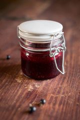 Black currant jam in a jar