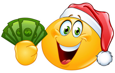 Emoticon with santa hat and dollars