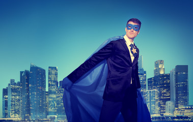 Strong Powerful Business Superhero Cityscape