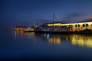 Classic ferryboat of Istanbul at the seaport in evening