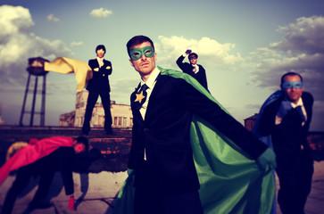 Business People Superhero Inspirations Confidence Team Work Conc