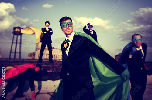 Business People Superhero Inspirations Confidence Team Work Conc