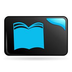 livre sur bouton web rectangle bleu