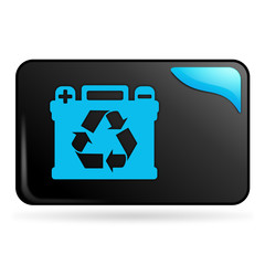 recyclage des batteries sur bouton web rectangle bleu
