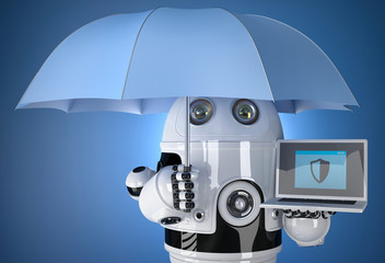 3d Robot with umbrella and laptop. Data protection concept