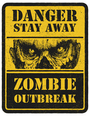 Zombie. Warning sign. Hand drawn. Vector illustration eps8