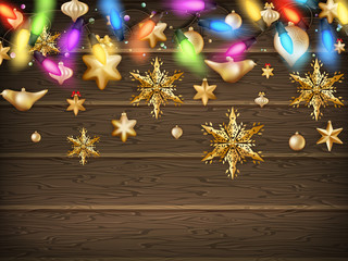 Gold Christmas ornament balls with star. EPS 10
