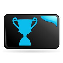 trophée sur bouton web rectangle bleu