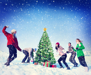 Christmas Snowball Fight Winter Friends Yuletide
