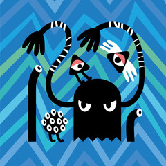 Black Angry Monsters on Zig Zag Background. Vector Illustration