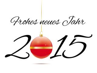 Frohes Neues Jahr 2015 Grußkarte mit Christbaumkugel