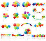Color Glossy Balloons Mega Set Vector Illustration