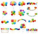 Color Glossy Balloons Mega Set Vector Illustration - 72539185