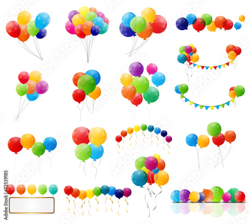 Color Glossy Balloons Mega Set Vector Illustration - 72539185