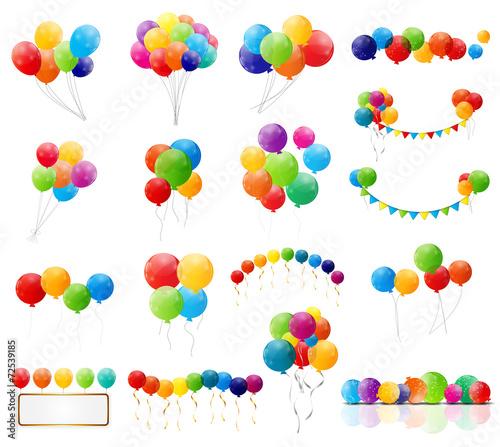Zdjęcia na płótnie, fototapety, obrazy : Color Glossy Balloons Mega Set Vector Illustration