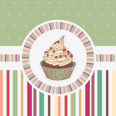 Funny card with cupcake