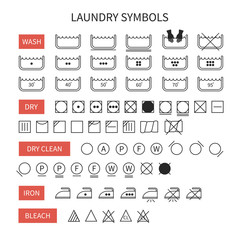 Set of  line simple washing instruction symbols .Laundry icons
