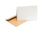 brown envelope with a blank white card over white - 72539968