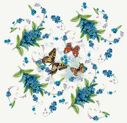 Forget-me-not. Flowers and butterflies background