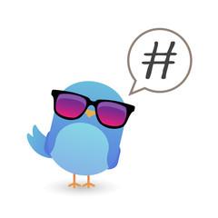 Blue bird with sunglasses