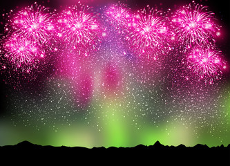 Happy New Year 2015 fireworks on sky and borealis background, ea
