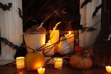 Halloween composition on fireplace closeup