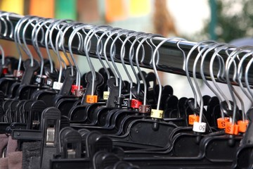 Many clothes hangers and clothes shopping centre for sale