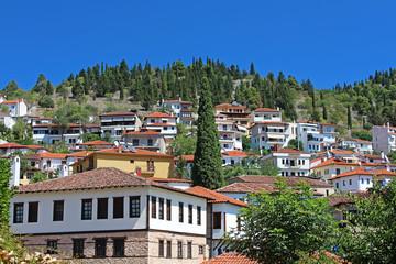 Stone traditional houses in Kastoria city (Epirus, Greece)