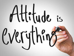 Attitude is everything hand writing with a black mar