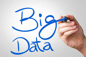 Big Data hand writing with a blue mark