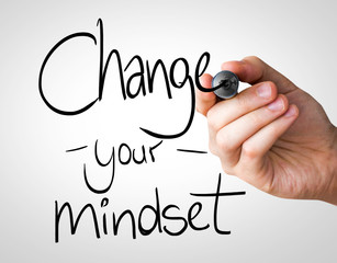 Change your Mindset hand writing with a black mark