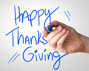 Happy Thanks Giving hand writing with a blue mark