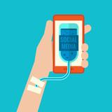 Smartphone addiction flat design poster