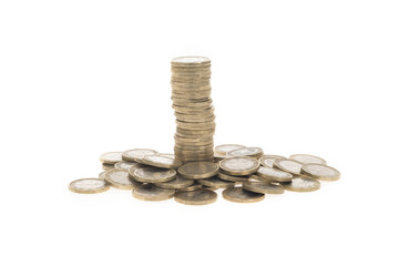 Coins column standing out from other coins - Stock Image